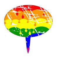 Rainbow Dripping Paint Distressed Cake Pick