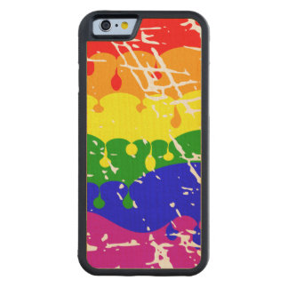 Rainbow Dripping Paint Distressed Carved® Maple iPhone 6 Bumper Case