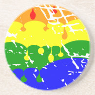 Rainbow Dripping Paint Distressed Coasters