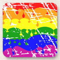 Rainbow Dripping Paint Distressed Beverage Coasters