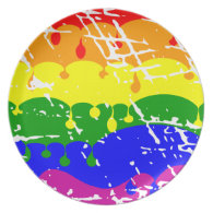 Rainbow Dripping Paint Distressed Dinner Plate