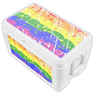 Rainbow Dripping Paint Distressed Igloo Chest Cooler
