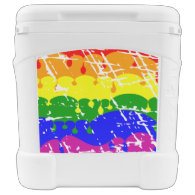Rainbow Dripping Paint Distressed Igloo Rolling Cooler