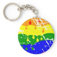 Rainbow Dripping Paint Distressed Key Chains