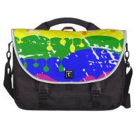 Rainbow Dripping Paint Distressed Laptop Messenger Bag
