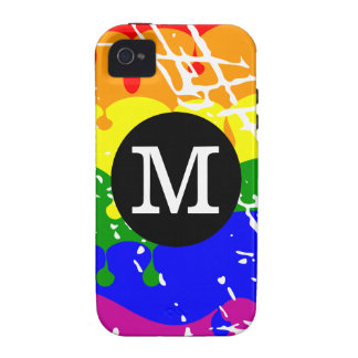 Rainbow Dripping Paint Distressed Monogram Vibe iPhone 4 Covers