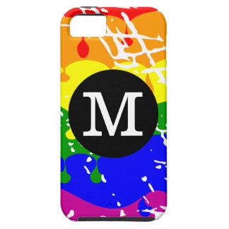 Rainbow Dripping Paint Distressed Monogram iPhone 5 Cover