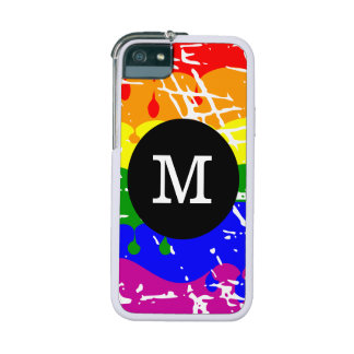 Rainbow Dripping Paint Distressed Monogram iPhone 5 Cases
