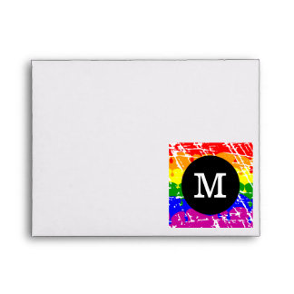 Rainbow Dripping Paint Distressed Monogram Envelope