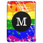 Rainbow Dripping Paint Distressed Monogram iPad Air Case