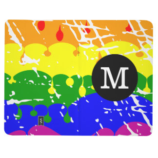 Rainbow Dripping Paint Distressed Monogram Journal