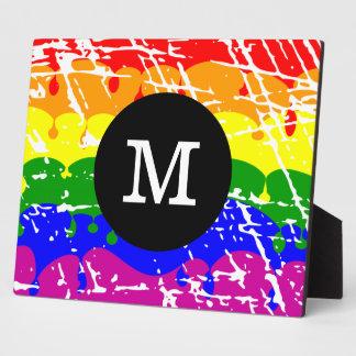 Rainbow Dripping Paint Distressed Monogram Plaque