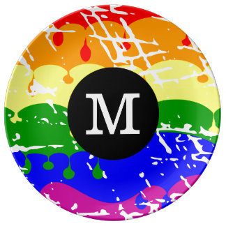 Rainbow Dripping Paint Distressed Monogram Plate