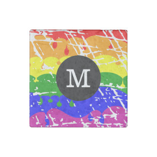 Rainbow Dripping Paint Distressed Monogram Stone Magnet