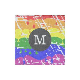 Rainbow Dripping Paint Distressed Monogram Stone Magnet