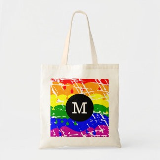 Rainbow Dripping Paint Distressed Monogram Tote Bag