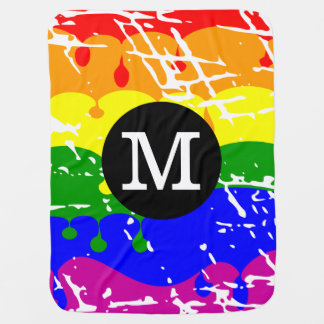 Rainbow Dripping Paint Distressed Monogram Swaddle Blankets