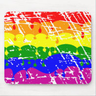 Rainbow Dripping Paint Distressed Mouse Pad