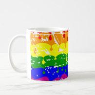 Rainbow Dripping Paint Distressed Mugs