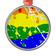 Rainbow Dripping Paint Distressed Christmas Ornament