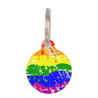 Rainbow Dripping Paint Distressed Pet ID Tag