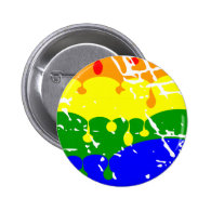 Rainbow Dripping Paint Distressed Pinback Button