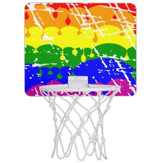 Rainbow Dripping Paint Distressed Mini Basketball Hoop