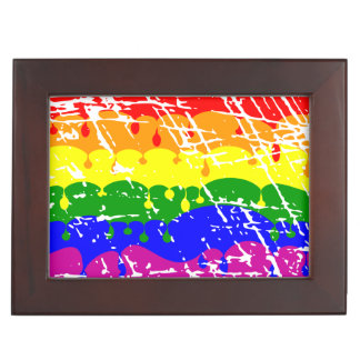 Rainbow Dripping Paint Distressed Keepsake Boxes