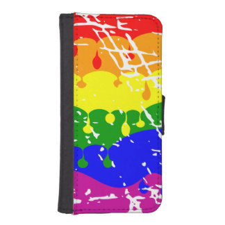 Rainbow Dripping Paint Distressed iPhone 5 Wallet Cases