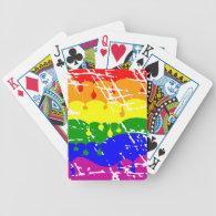 Rainbow Dripping Paint Distressed Bicycle Card Decks