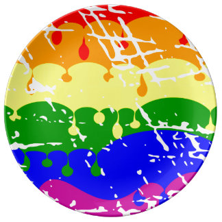 Rainbow Dripping Paint Distressed Porcelain Plate