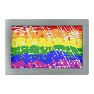 Rainbow Dripping Paint Distressed Rectangular Belt Buckle