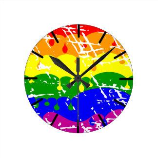 Rainbow Dripping Paint Distressed Round Clock