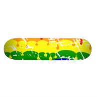 Rainbow Dripping Paint Distressed Skate Deck