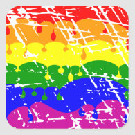 Rainbow Dripping Paint Distressed Stickers