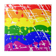 Rainbow Dripping Paint Distressed Tile