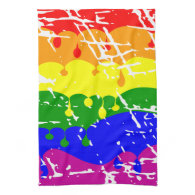Rainbow Dripping Paint Distressed Towels