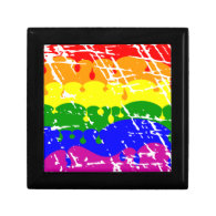 Rainbow Dripping Paint Distressed Trinket Boxes