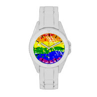 Rainbow Dripping Paint Distressed Wrist Watches