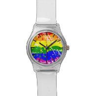 Rainbow Dripping Paint Distressed Wristwatch