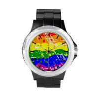 Rainbow Dripping Paint Distressed Wristwatches