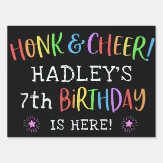 Rainbow Drive By Birthday Car Parade Honk & Cheer Sign