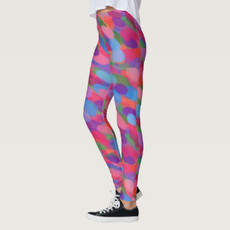 Rainbow Droplets Colorful Print Leggings