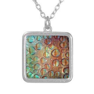 Rainbow Drops Necklace Small SP Square