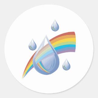 Rainbow drops round sticker