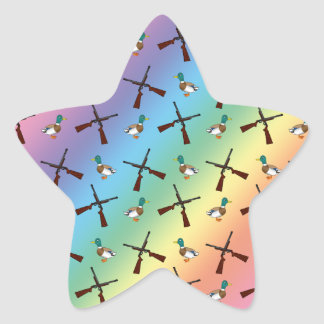 rainbow duck hunting pattern star sticker
