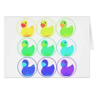 Rainbow Duckies Pattern Design Greeting Card
