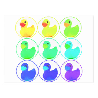 Rainbow Duckies Pattern Design Postcard