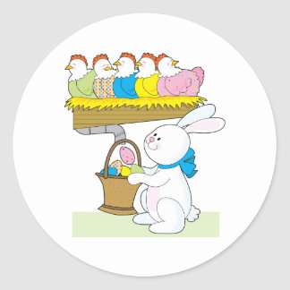 Rainbow Easter Chickens Classic Round Sticker