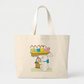 Rainbow Easter Chickens Large Tote Bag
